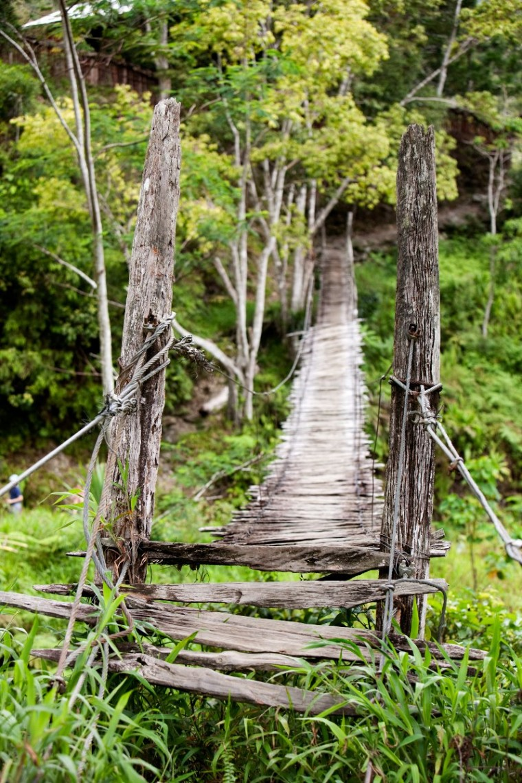 An old narrow hanging bridge
